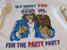 Party Rock We want you for the USA beer hat Quiksilver Men's T shirt M MD white