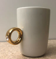 New! Fred and Friends 2 Carat Cup Coffee Mug w/ Goldtone Swarovski Ring Handle