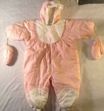 Abserba Baby Pink Snow Jump Suit W/ Attached Hat, Bib, Gloves 86 Cm 2 Year Old