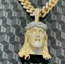 """14K Yellow Gold Over Unique """"God Jesus""""  Ice Out Diamond Customize Charm Pendent"""