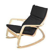 Black Lounge Rocking Chair Comfortable Relaxing Armchair Living Room Nursing