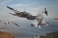 ORIGINAL WW2 MILITARY AVIATION ART PAINTING RAF MOSQUITO FIGHTER D-DAY WWII