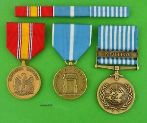 Korean War Service 3 Medal Set Ribbons Army, Navy, Air Force, Marine Corps Korea