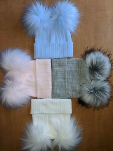 Baby grey,blue,white ,pink,navy double bobble faux fur pom pom hat