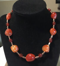 Vintage Carnelian Agate Necklace With Copper- 16""