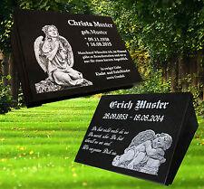 Grabstein Grabplatte Grabschmuck  40x30x3cm mit Stütze Granit Gravur Engel Buch