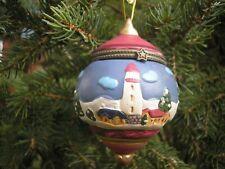 "Lighthouse & Sailboats Ceramic 3 1/2"" Christmas Ornament Trinket Box Star Clasp"