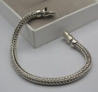 Pure 925 Sterling Silver Special 6mm Round Wheat Link Men's Bracelet 19.4cm