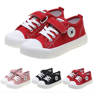 Kids Boys Girls Canvas Shoes Casual Flat Low Top Plimsolls Pump Trainers UK Size