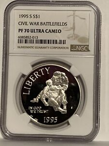 1995-S Civil War $1 NGC PF 70 Ultra Cameo Modern Commemorative Silver Dollar