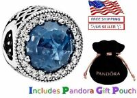 New PANDORA Sterling Silver S925 ALE Radiant Hearts Moonlight Blue Crystal Charm