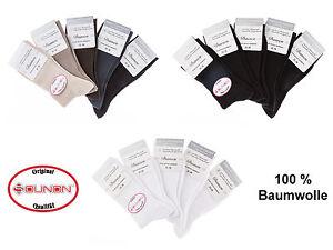 SOUNON® 10 Paar Damen Socken ohne Gummi - 100 % Baumwolle - 3 Farben