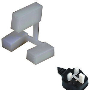 10x White Nylon 3-Pin Plug Protectors Covers, UK Mains Safety