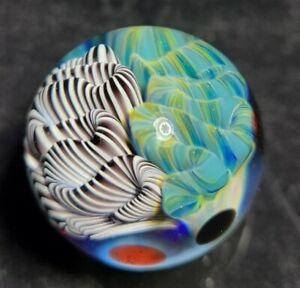 Contemporary Art Glass Marble Cane Implosion Boro Borosilicate UV Reactive