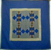 "AMISH Antique Quilt Cotton Blend, Multi-Color and Patchwork about 47.5"" square"