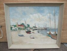 20TH CENTURY WATERCOLOUR ON CANVAS A HARBOUR VIEW BY GORMAN