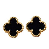 100% Pure 18K Yellow Gold Stud Earrings Black Onyx Clover Charm AU750E004YB