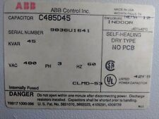 ABB C485D45 POWER FACTOR CORRECTION CAPACITOR 480 VOLT 3 PH 40 KVAR PRE-OWNED