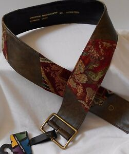 NO BOUNDARIES M/L WOMENS BELT COTTON FAUX LEATHER RUST OLIVE TAPESTRY WIDE