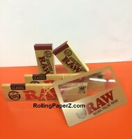 2 Packs of Raw KING SIZE SLIM Classic Rolling Papers + 100 Tips + Magnifier Card