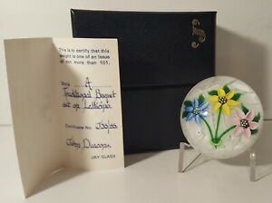 A MARVELOUS SIGNED JOHN DEACONS Colorful BOUQUET on MUSLIN Art Glass PAPERWEIGHT