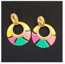Vintage 1990's (Cyndi Lauper) Colorful rainbow loop ring earrings