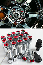 20 Pcs M14 X 1.5 Red Wheel Lug Nut Bolts With Security Caps +Key+Socket For Audi