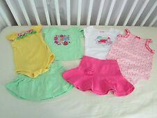 6 piece 12 mos Girls Garanimals 1 Skirt 1 Skort 2 Embroidered Tops & 2 Onsies
