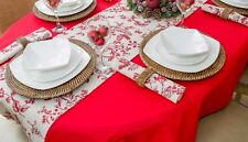 "55x98"" (140x250cm) OVAL RED CHRISTMAS TABLECLOTH 8 SEATER / EVERYDAY DINING"