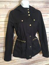Thread Supply Navy coat Jacket Cinch Waist DrawString XS fur lined hood utility