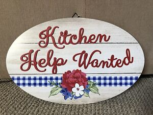 """The Pioneer Woman Wall Decor Sign 20"""" Oval Kitchen Help Wanted 20"""" Red Blue"""