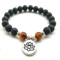 8mm Lava Stone Lotus Tiger Eye Bracelet 7.5inches Chakas Wrist Healing Bead