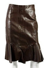 YVES SAINT LAURENT Brown Leather Pleated Trim Trumpet Skirt 40