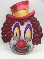 Vintage Halloween Mask Paper Card Circus Clown Wearing Hat Pennywise IT Creepy