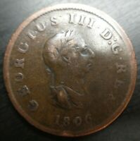 1806 UK Half Penny 1/2 Cent Great Britain England United Kingdom GB Coin