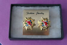 Beautiful Gold Color Earrings With Multy Stones Red Green  Cm.wide Without  Box