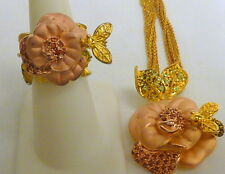 """CUTE STERLING 3 TONE FLOWER BEE NECKLACE RING SET 19""""l SZ 6 I-4026"""