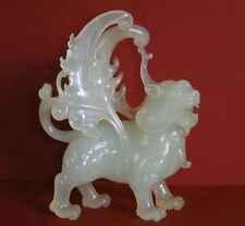 Antique chinese hand carving jade jadite winged lion foo dog