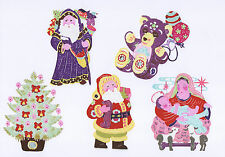 Handmade Chinese Paper Cuts Christmas Set 5 colorful small pieces