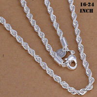 "925 Sterling Silver 3,4,5MM Twisted Rope Chain Necklace 16"" - 24"" Mens Womens"