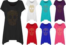 Womens Plus Size Skull Stud Hanky Hem Bead Long Top Ladies Short Sleeve 14 - 28