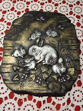 "Vintage ♡ 1980 Macky Molds Wall Art ♡ Rabbit Wildlife 10.5"" Hand Painted Ceramic"