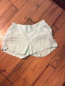 Old Navy Aqua Blue Linen Shorts With Pockets Womens Medium