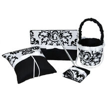 Wedding Guest Book Pen Ring Pillow Flower Girl Basket Black and White