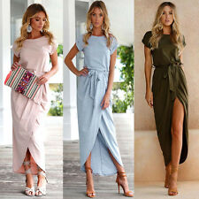 Fashion Women Summer Cotton Asymmetrical Boho Long Maxi Party Beach Casual Dress