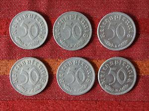 Sammlung- 6 Stück 50 Reichspfennig 1941 A/B/D/F/G/J