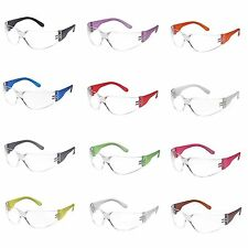12 Pair Safety Glasses Clear Anti-Fog Lens Colored Temple Work UV Protection NEW