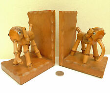 Vintage bamboo elephant bookends Art Deco animals British made 1920s 1930s