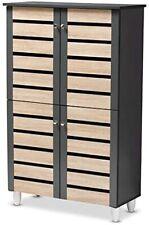 Baxton Studio Gisela Two-Tone Oak and Dark Gray 4-Door Shoe Storage Cabinet New