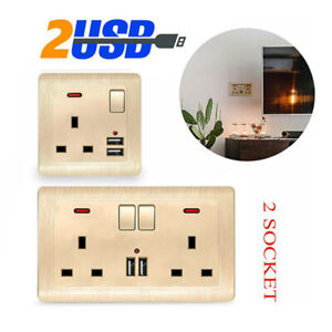 UK Double Wall Plug Socket 2 Gang 13A +2 USB Charger Port Outlets Plate Gold